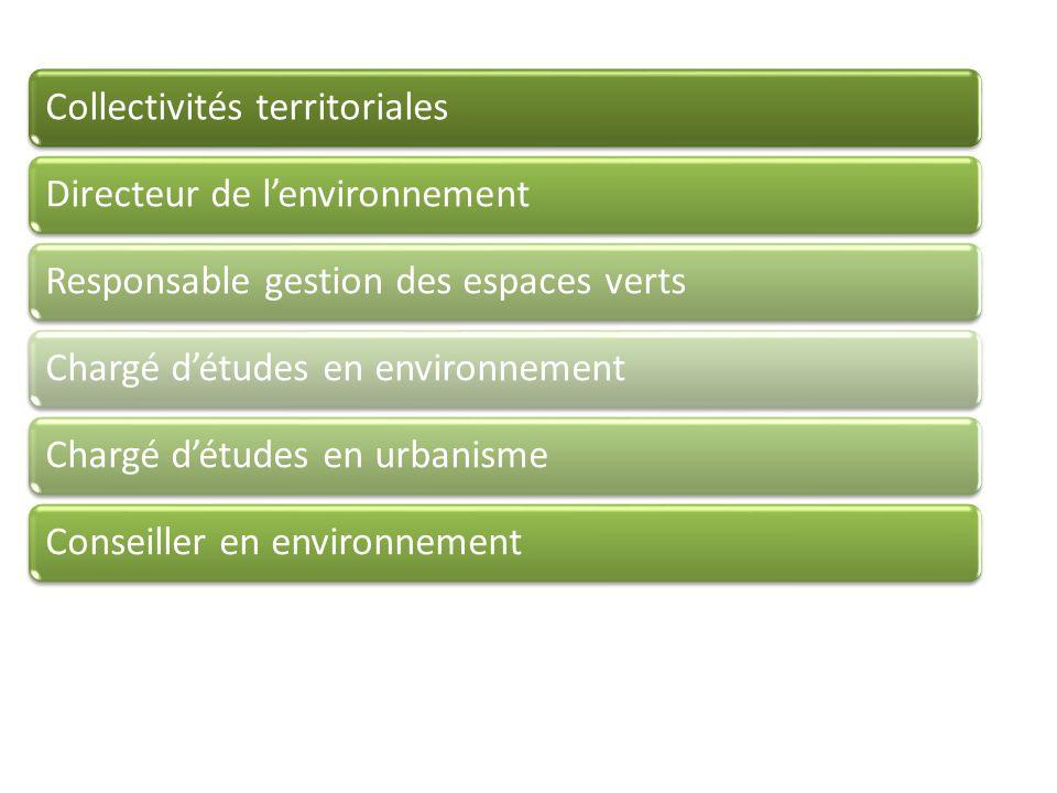 Collectivités territorialesDirecteur de lenvironnementResponsable gestion des espaces vertsChargé détudes en environnementChargé détudes en urbanismeConseiller en environnement