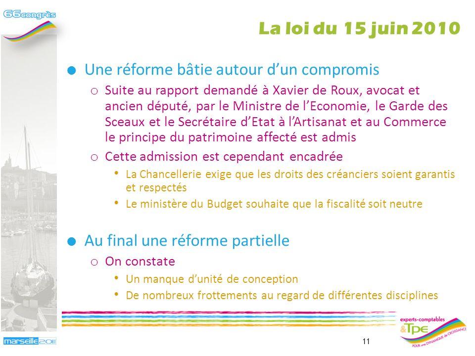 Un nouveau concept : le patrimoine daffectation o Point de départ de la réforme Volonté de Hervé Novelli de prolonger la réforme du statut de lentrepr