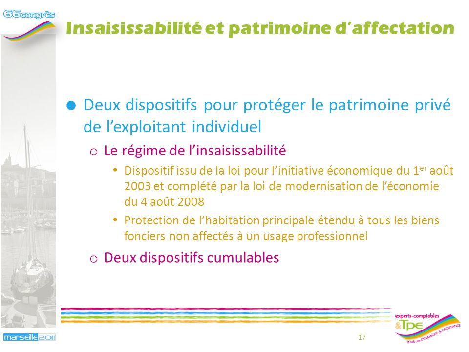 Insaisissabilité et patrimoine daffectation Frédéric Roussel 16