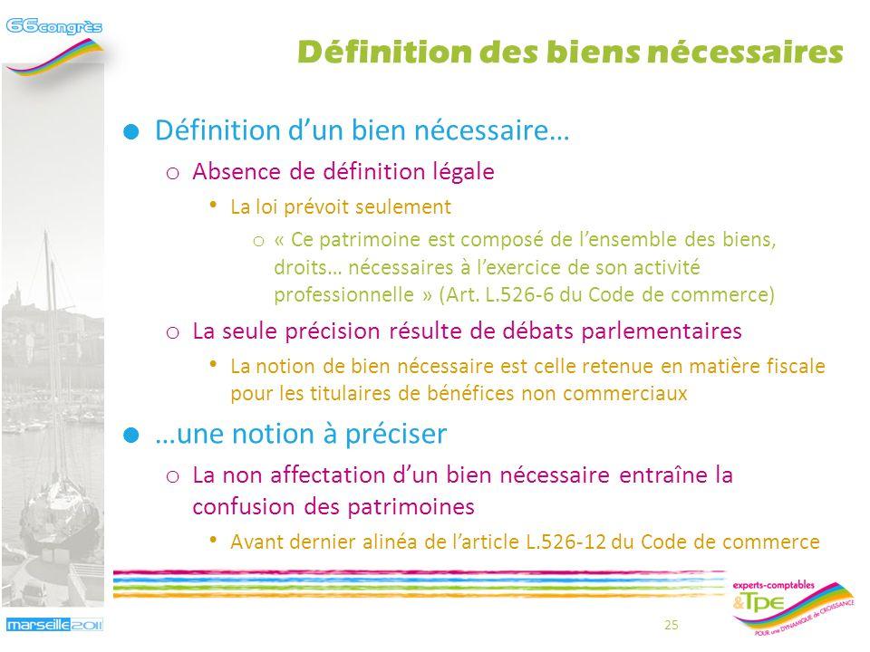Définitions des biens nécessaires Jean-Bernard Cappelier – Frédéric Roussel 24