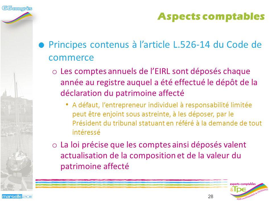 Principes contenus à larticle L.526-13 du Code de commerce o Lactivité exercée par lEIRL doit faire lobjet dune comptabilité autonome Lactivité profes
