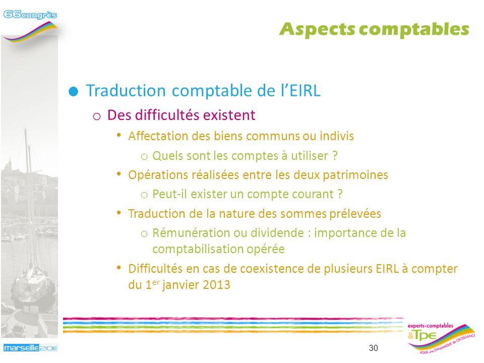 Traduction comptable de lEIRL o Simplicité apparente Analogie entre la comptabilité dun patrimoine daffectation et la comptabilité dune entreprise individuelle BIC ….