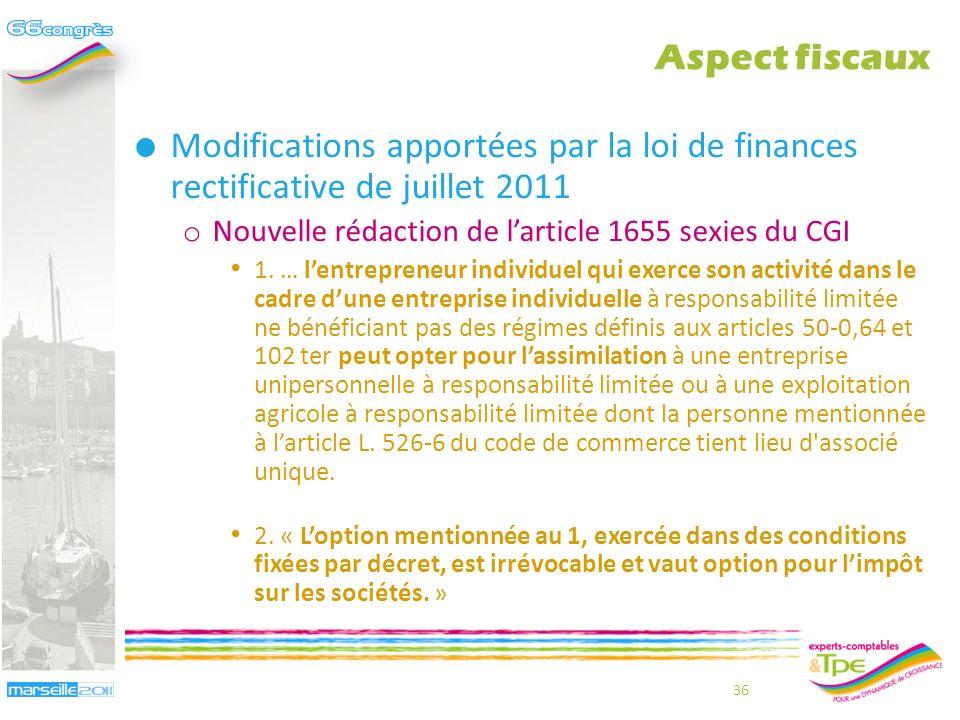 35 Projet dinstruction fiscale du 22 février 2011 o Ladministration fiscale tire toute les conséquences de lassimilation de lEIRL à une EURL LEIRL est