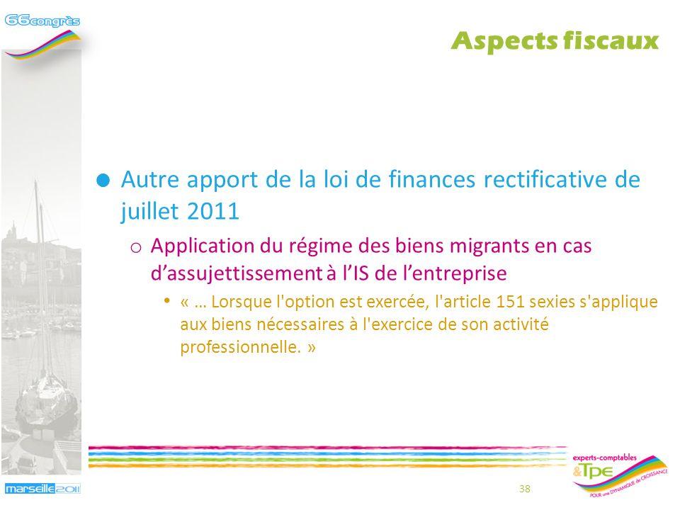 Conséquences des modifications apportées par la loi du 29 juillet 2011 o Lassimilation de lEIRL à une EURL ne peut résulter désormais que dune option