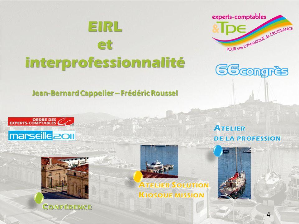 EIRL et Interprofessionnalité o Les synergies entre les professionnels du conseil o Le rôle de lexpert-comptable o Le rôle du notaire Rappel historiqu