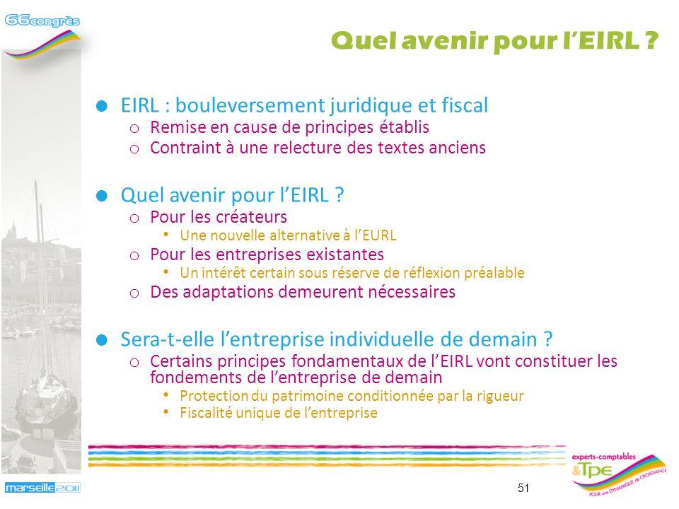 Quel avenir pour lEIRL ? Pierre-Alain Millot et Frédéric Roussel 50