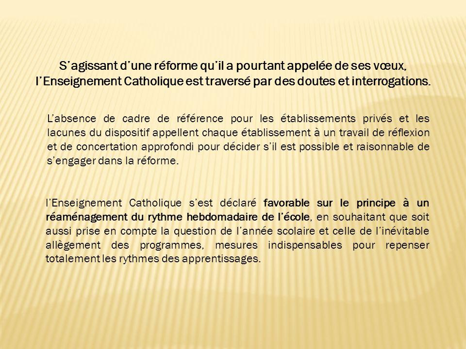 Labsence de cadre de référence pour les établissements privés et les lacunes du dispositif appellent chaque établissement à un travail de réflexion et de concertation approfondi pour décider sil est possible et raisonnable de sengager dans la réforme.