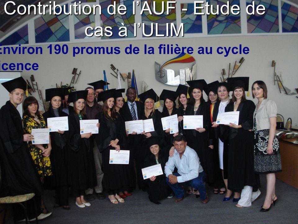 Contribution de lAUF - Etude de cas à lULIM Environ 190 promus de la filière au cycle licence
