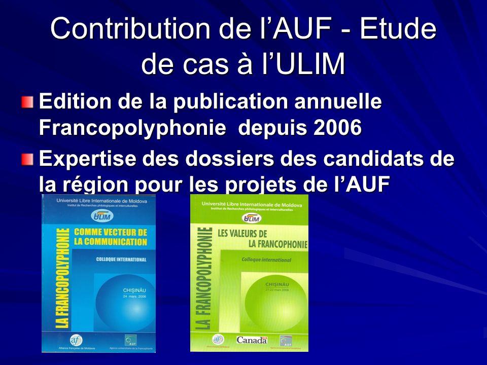 Contribution de lAUF - Etude de cas à lULIM Edition de la publication annuelle Francopolyphonie depuis 2006 Expertise des dossiers des candidats de la région pour les projets de lAUF