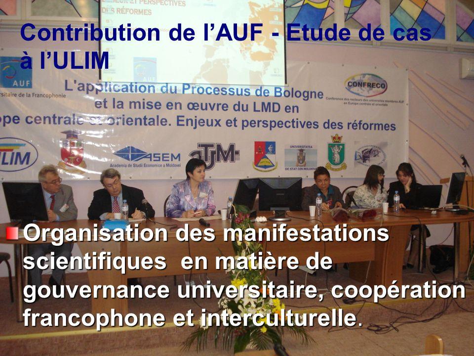 Organisation des manifestations scientifiques en matière de gouvernance universitaire, coopération francophone et interculturelle.