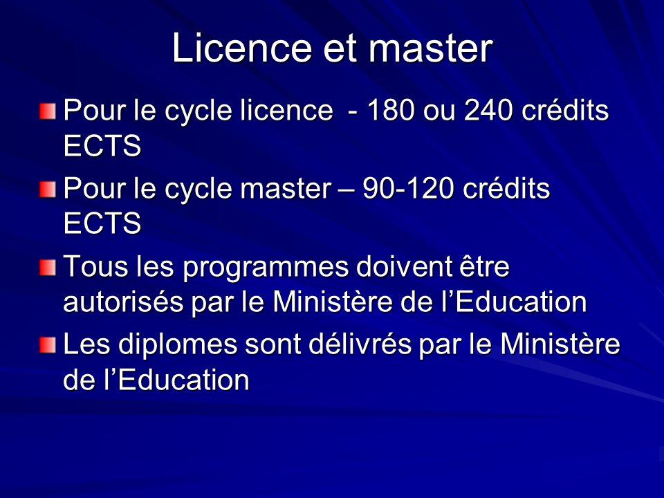 Licence et master Pour le cycle licence - 180 ou 240 crédits ECTS Pour le cycle master – 90-120 crédits ECTS Tous les programmes doivent être autorisés par le Ministère de lEducation Les diplomes sont délivrés par le Ministère de lEducation