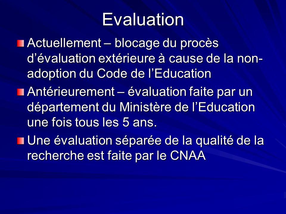Evaluation Actuellement – blocage du procès dévaluation extérieure à cause de la non- adoption du Code de lEducation Antérieurement – évaluation faite par un département du Ministère de lEducation une fois tous les 5 ans.
