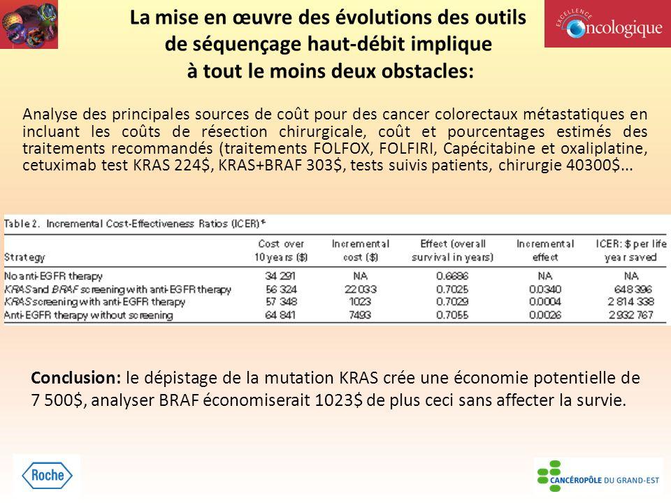 La mise en œuvre des évolutions des outils de séquençage haut-débit implique à tout le moins deux obstacles: Analyse des principales sources de coût p