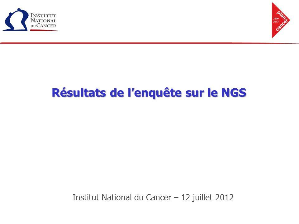 Institut National du Cancer – 12 juillet 2012 Résultats de lenquête sur le NGS