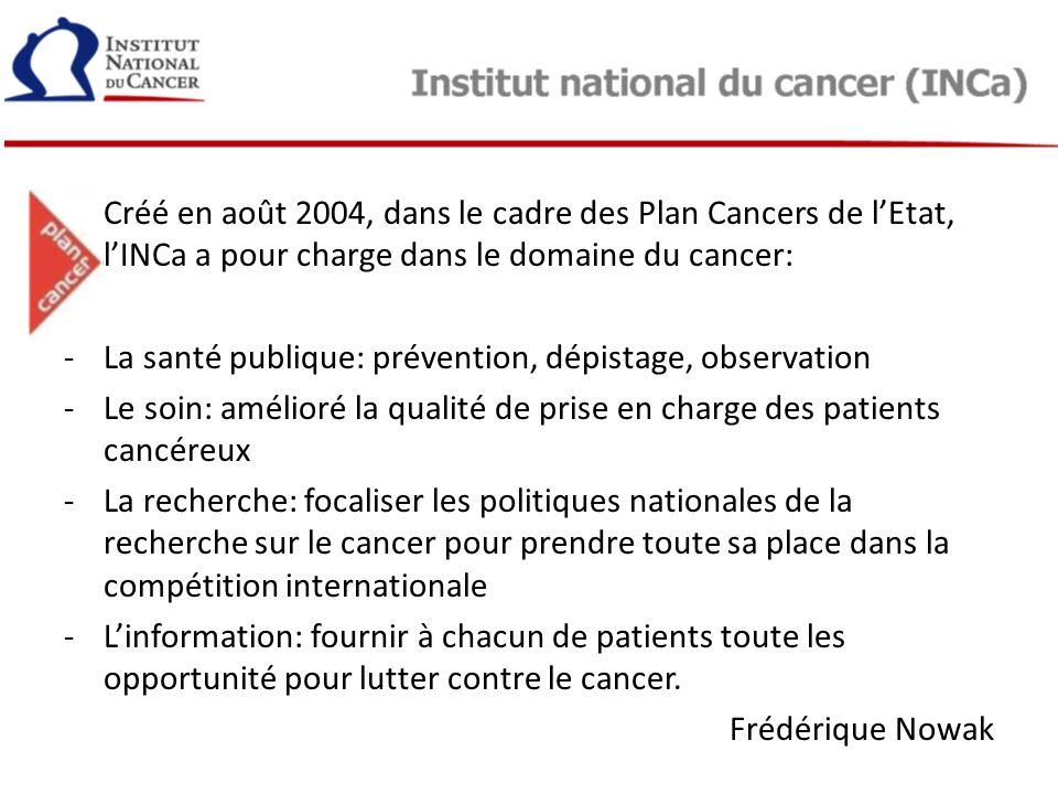 Créé en août 2004, dans le cadre des Plan Cancers de lEtat, lINCa a pour charge dans le domaine du cancer: -La santé publique: prévention, dépistage,