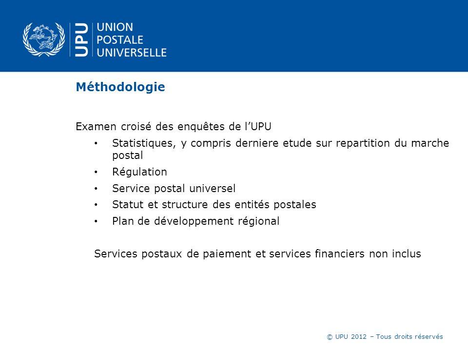 © UPU 2012 – Tous droits réservés Méthodologie Examen croisé des enquêtes de lUPU Statistiques, y compris derniere etude sur repartition du marche pos