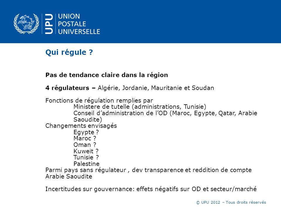 © UPU 2012 – Tous droits réservés Qui régule ? Pas de tendance claire dans la région 4 régulateurs – Algérie, Jordanie, Mauritanie et Soudan Fonctions