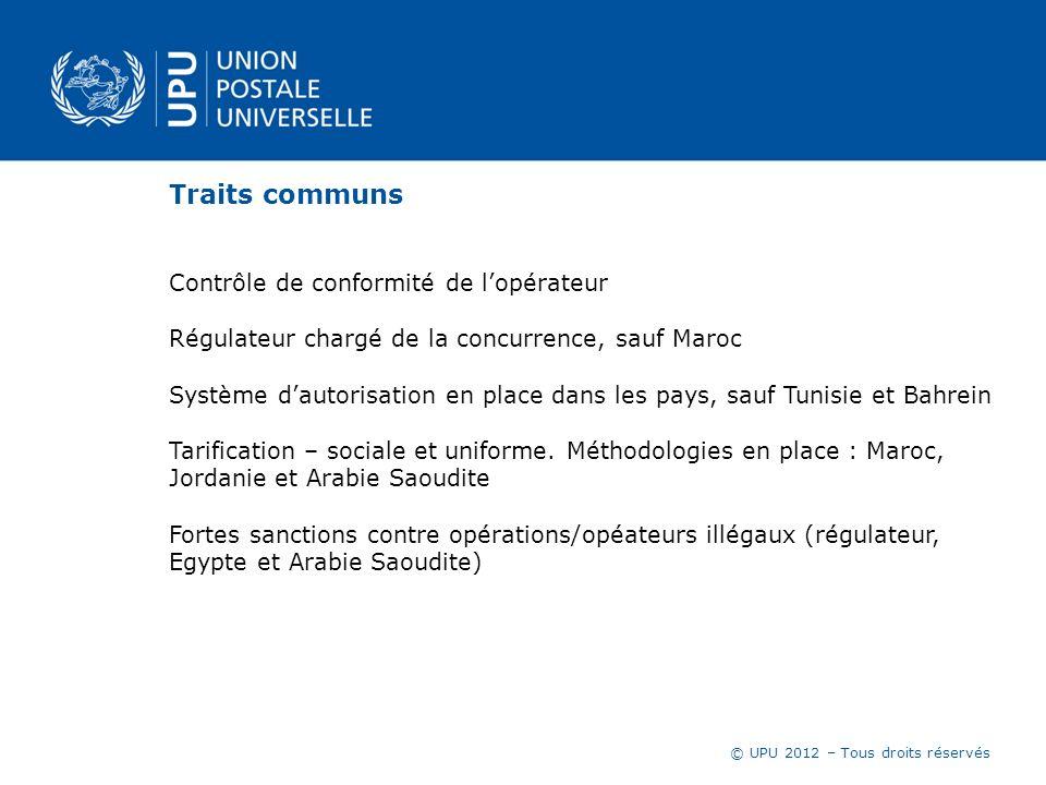 © UPU 2012 – Tous droits réservés Traits communs Contrôle de conformité de lopérateur Régulateur chargé de la concurrence, sauf Maroc Système dautoris