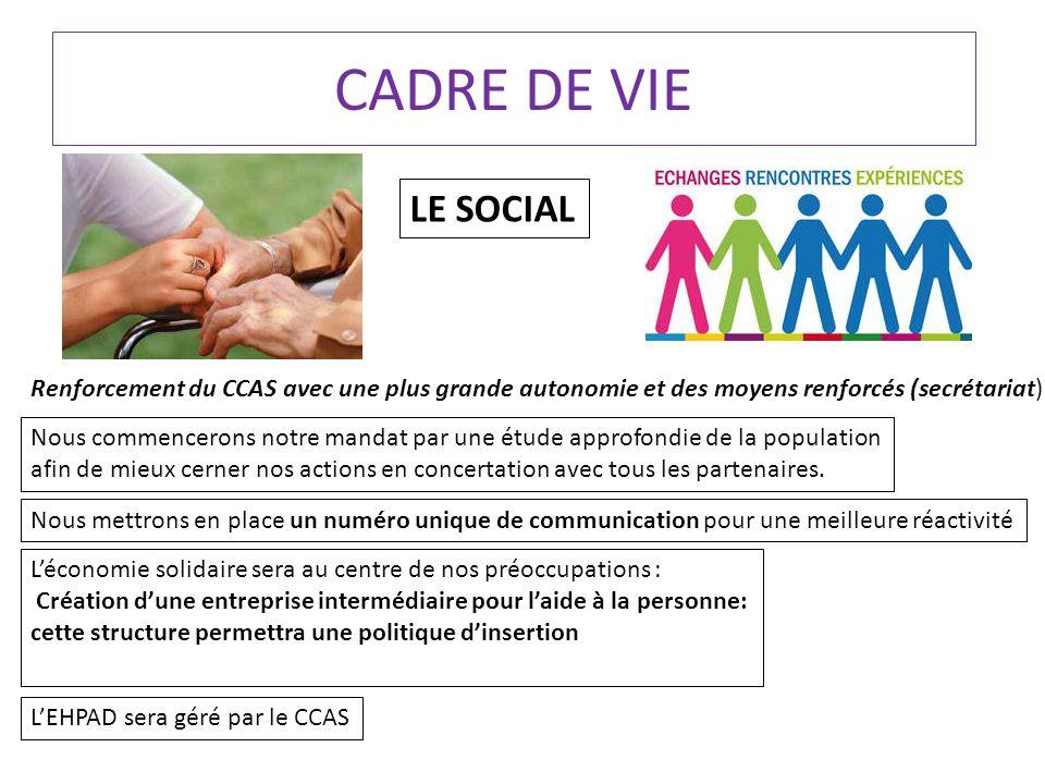 CADRE DE VIE LE SOCIAL Renforcement du CCAS avec une plus grande autonomie et des moyens renforcés (secrétariat) Nous commencerons notre mandat par une étude approfondie de la population afin de mieux cerner nos actions en concertation avec tous les partenaires.