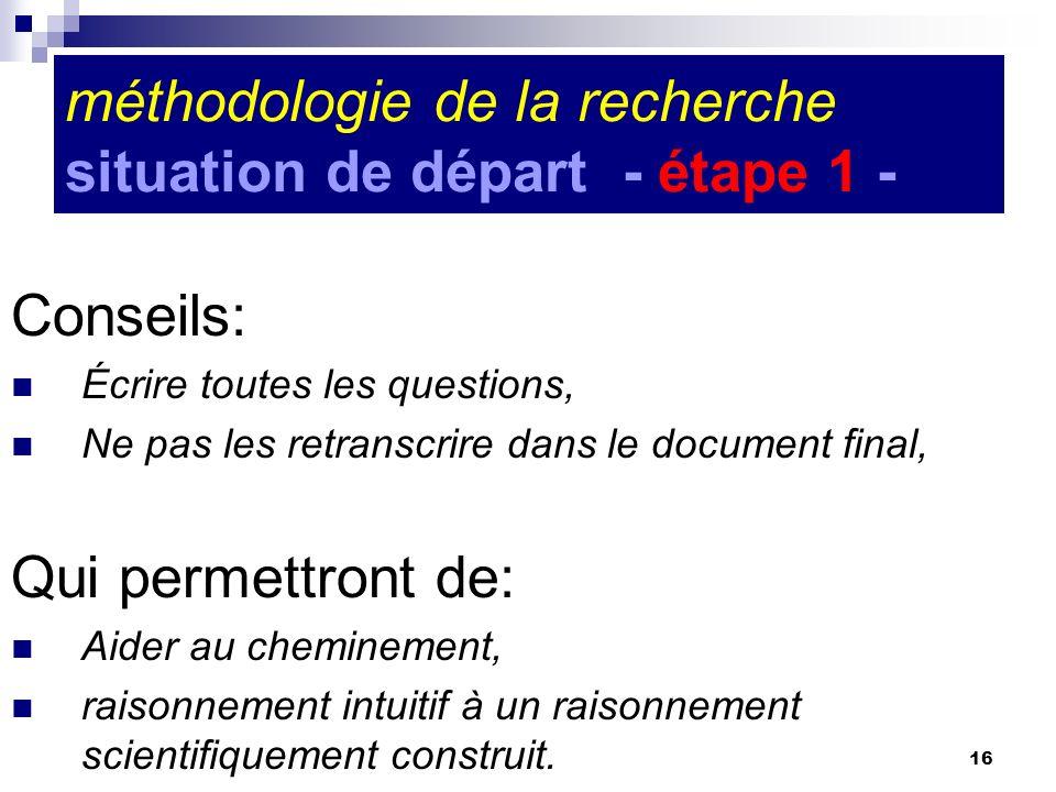 16 méthodologie de la recherche situation de départ - étape 1 - Conseils: Écrire toutes les questions, Ne pas les retranscrire dans le document final,