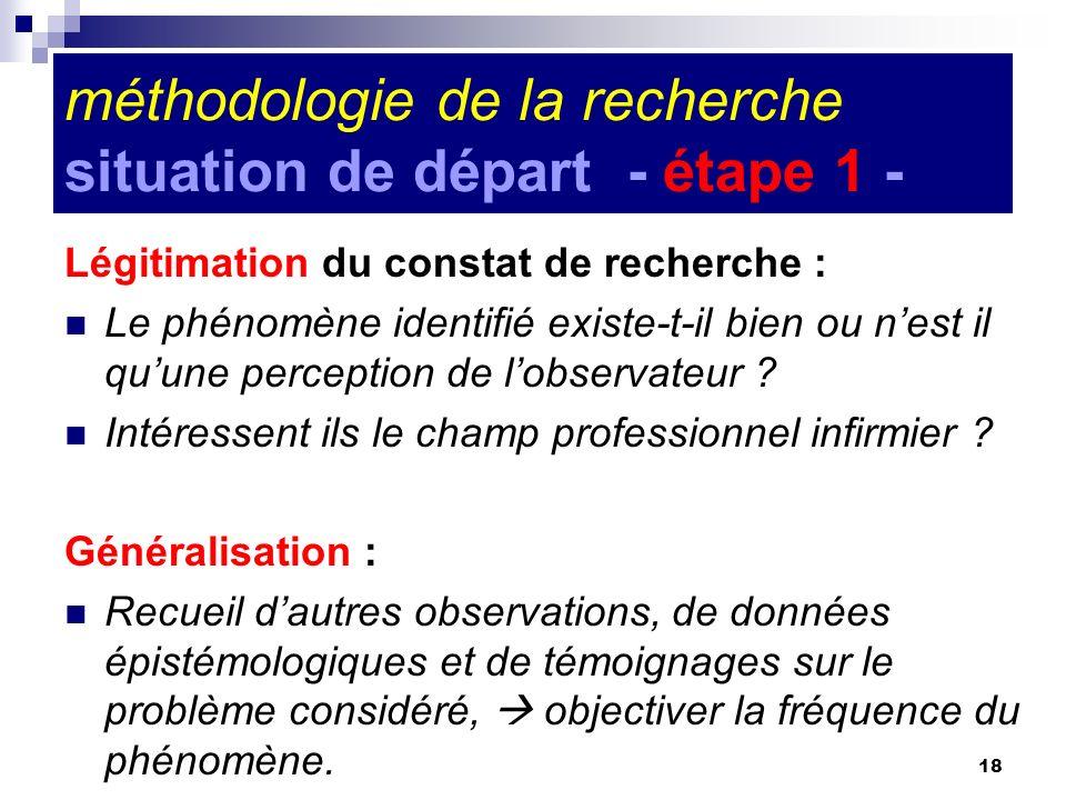 18 méthodologie de la recherche situation de départ - étape 1 - Légitimation du constat de recherche : Le phénomène identifié existe-t-il bien ou nest