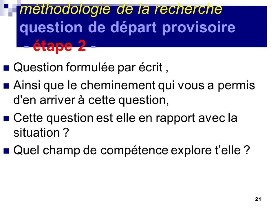21 méthodologie de la recherche question de départ provisoire - étape 2 - Question formulée par écrit, Ainsi que le cheminement qui vous a permis d'en