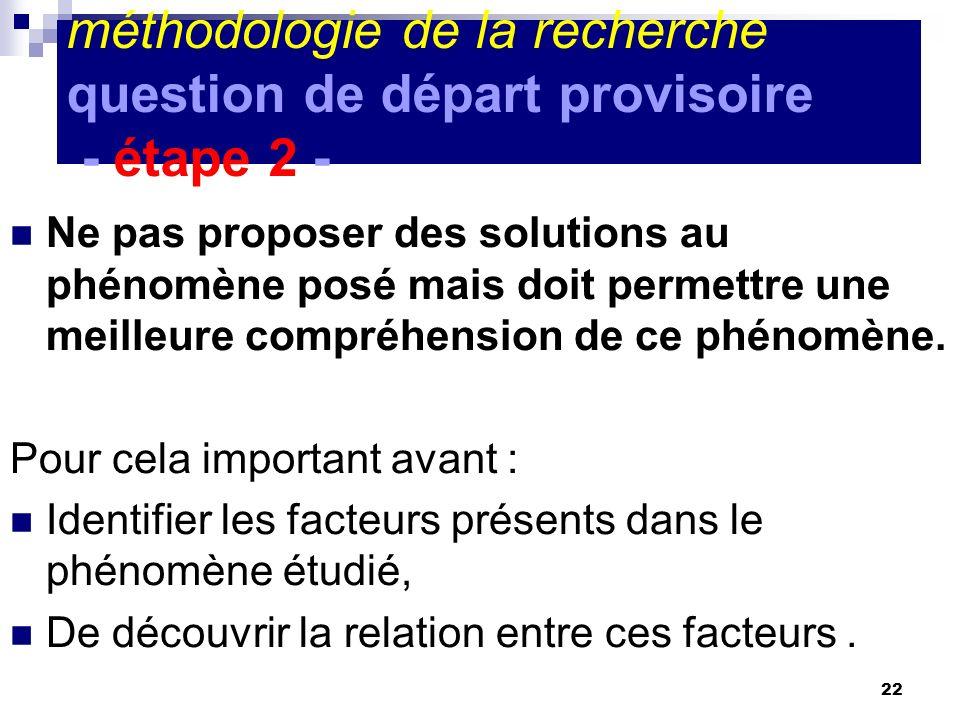 22 méthodologie de la recherche question de départ provisoire - étape 2 - Ne pas proposer des solutions au phénomène posé mais doit permettre une meilleure compréhension de ce phénomène.