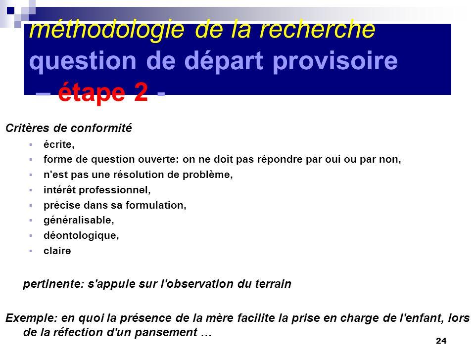 24 méthodologie de la recherche question de départ provisoire – étape 2 - Critères de conformité écrite, forme de question ouverte: on ne doit pas rép