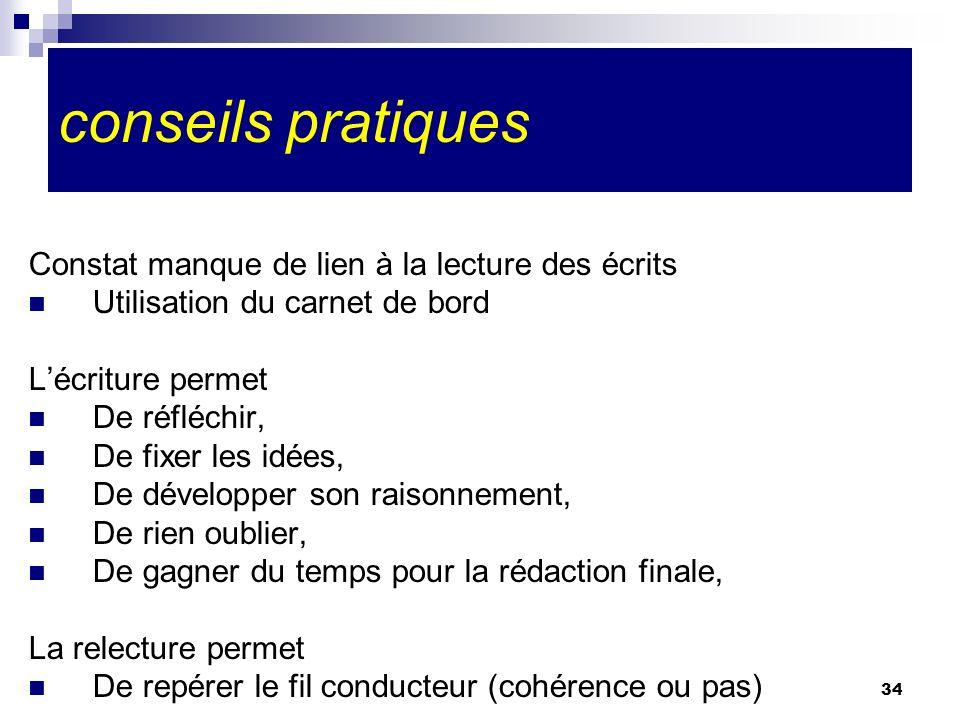 34 conseils pratiques Constat manque de lien à la lecture des écrits Utilisation du carnet de bord Lécriture permet De réfléchir, De fixer les idées,