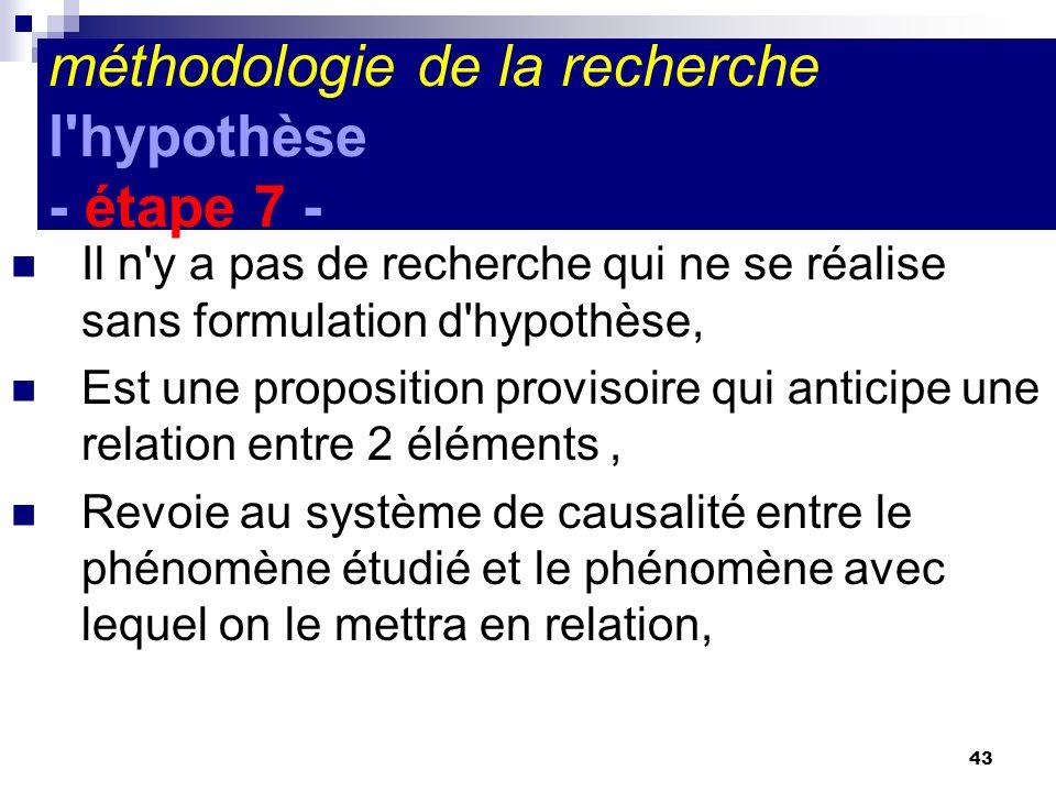 43 méthodologie de la recherche l'hypothèse - étape 7 - Il n'y a pas de recherche qui ne se réalise sans formulation d'hypothèse, Est une proposition