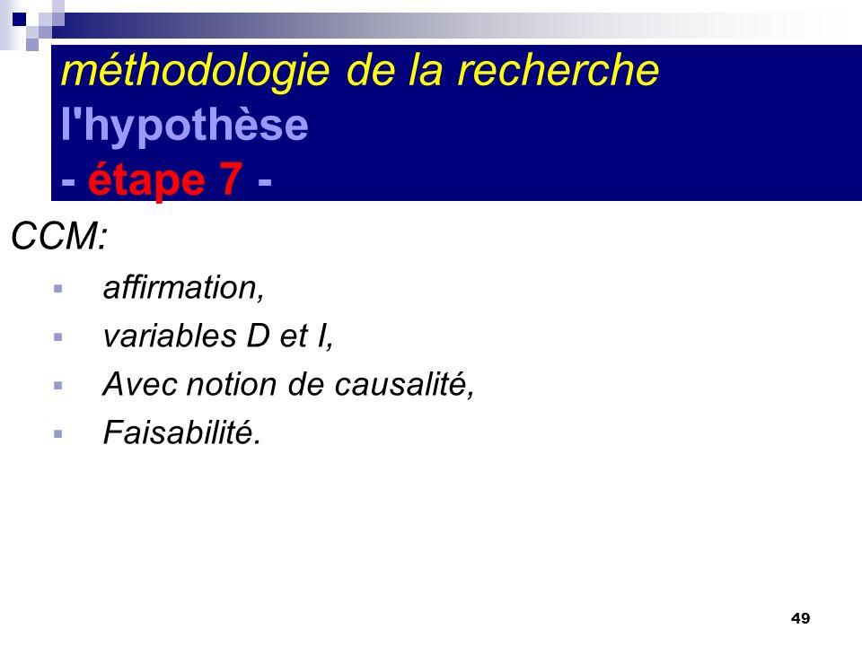 49 CCM: affirmation, variables D et I, Avec notion de causalité, Faisabilité. méthodologie de la recherche l'hypothèse - étape 7 -