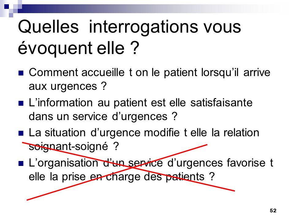 52 Quelles interrogations vous évoquent elle ? Comment accueille t on le patient lorsquil arrive aux urgences ? Linformation au patient est elle satis