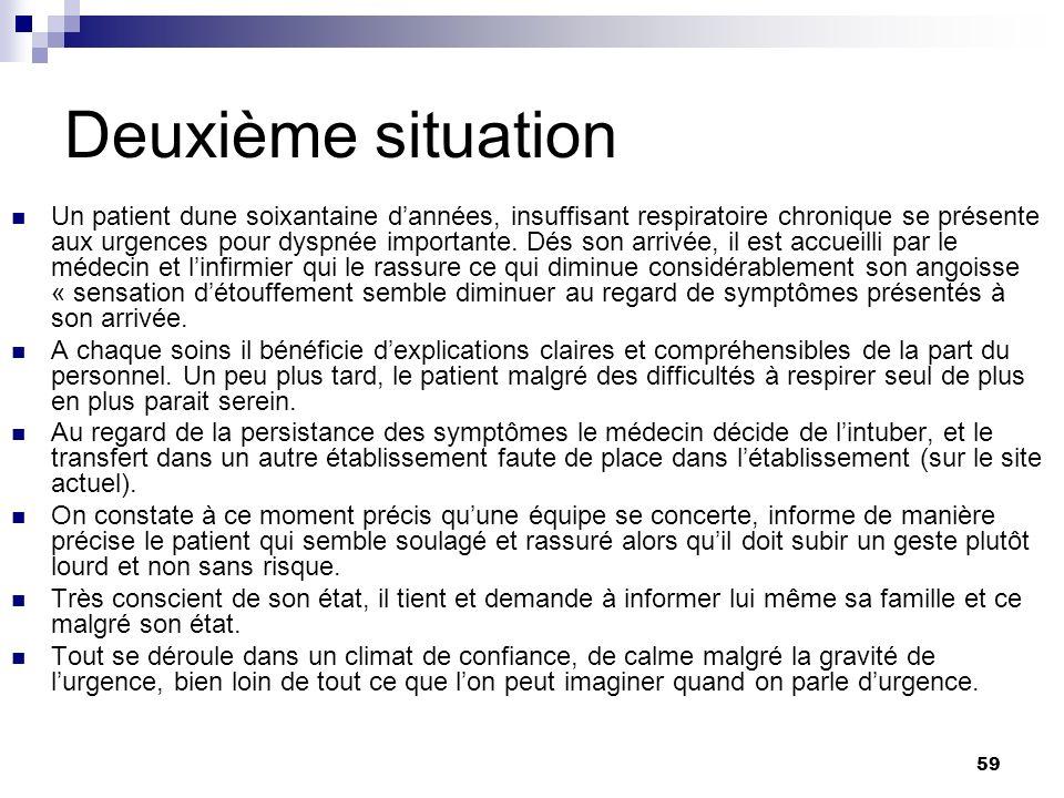 59 Deuxième situation Un patient dune soixantaine dannées, insuffisant respiratoire chronique se présente aux urgences pour dyspnée importante. Dés so