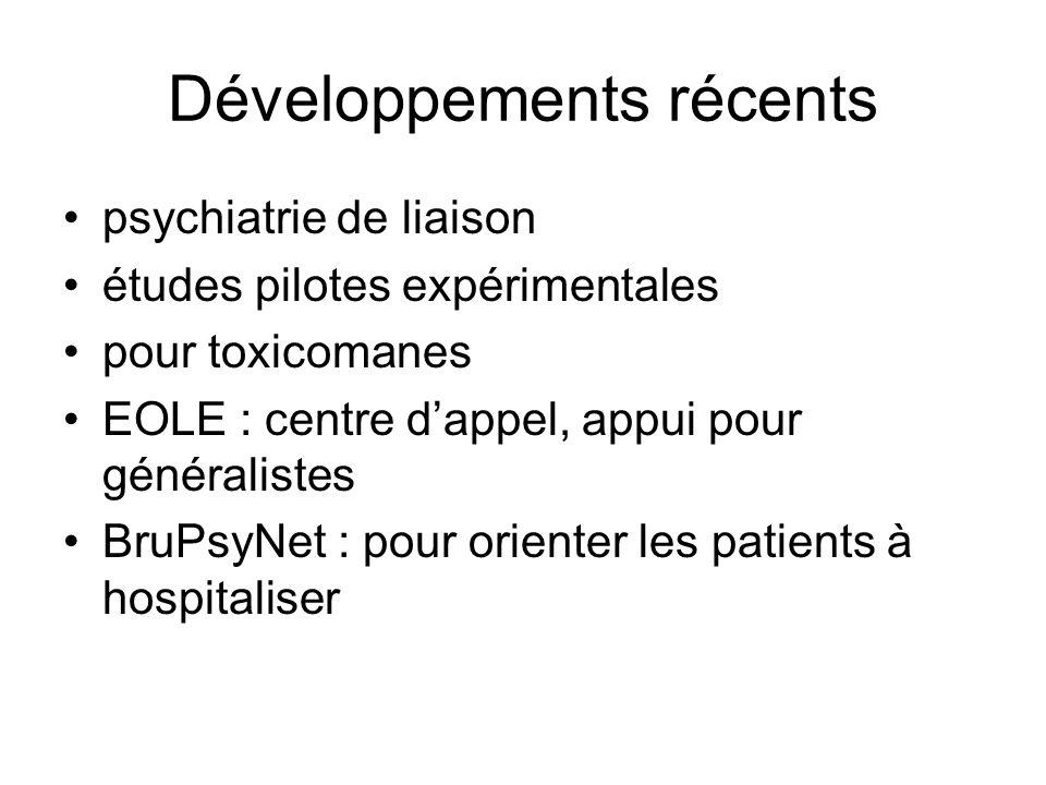 Développements récents psychiatrie de liaison études pilotes expérimentales pour toxicomanes EOLE : centre dappel, appui pour généralistes BruPsyNet :