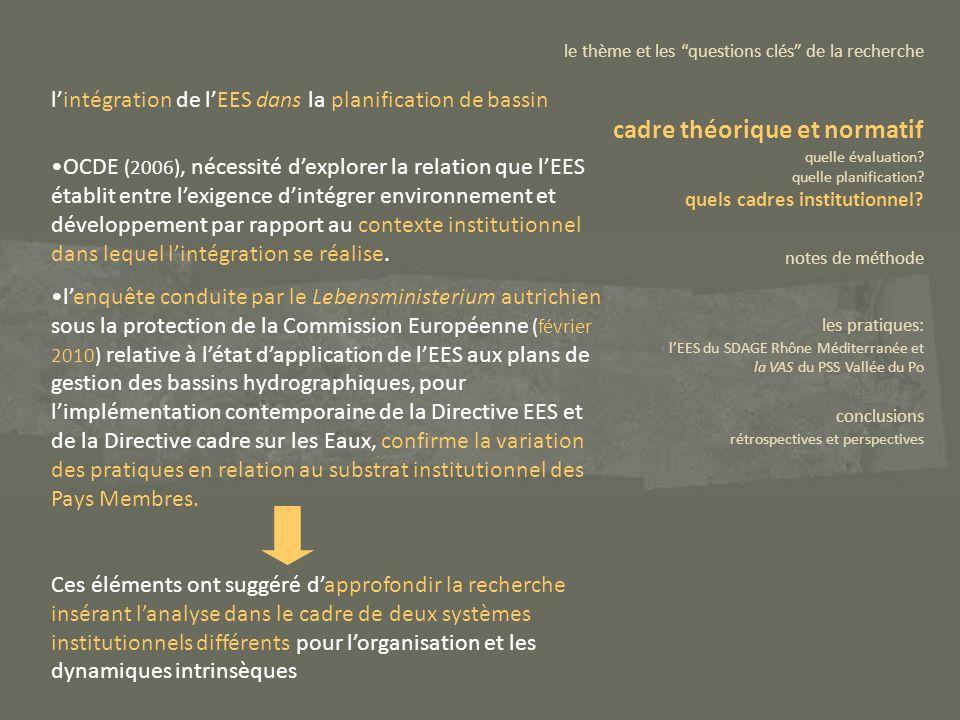 OCDE (2006), nécessité dexplorer la relation que lEES établit entre lexigence dintégrer environnement et développement par rapport au contexte institu