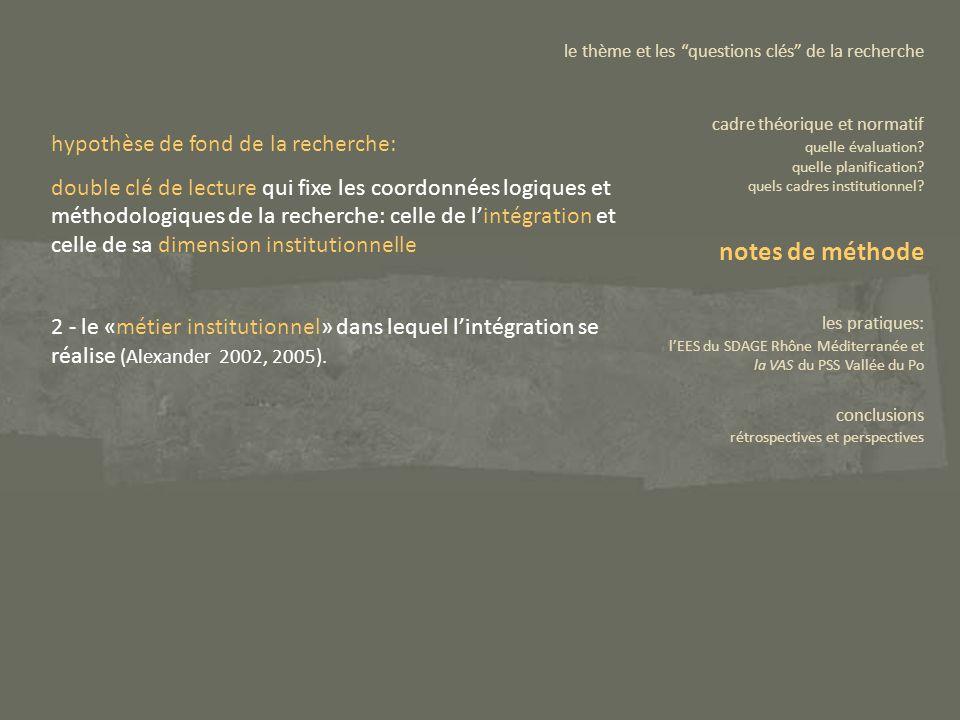 2 - le «métier institutionnel» dans lequel lintégration se réalise (Alexander 2002, 2005). le thème et les questions clés de la recherche cadre théori