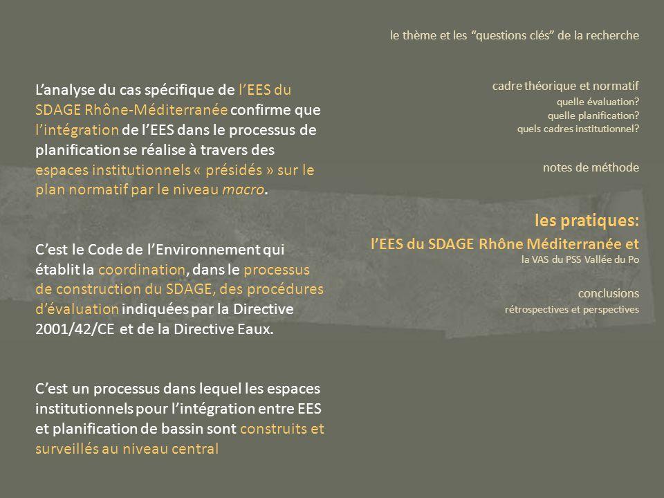 Lanalyse du cas spécifique de lEES du SDAGE Rhône-Méditerranée confirme que lintégration de lEES dans le processus de planification se réalise à trave