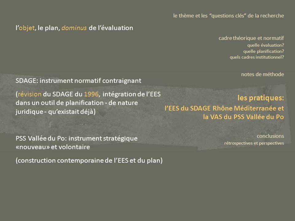 lobjet, le plan, dominus de lévaluation SDAGE: instrument normatif contraignant (révision du SDAGE du 1996, intégration de lEES dans un outil de plani