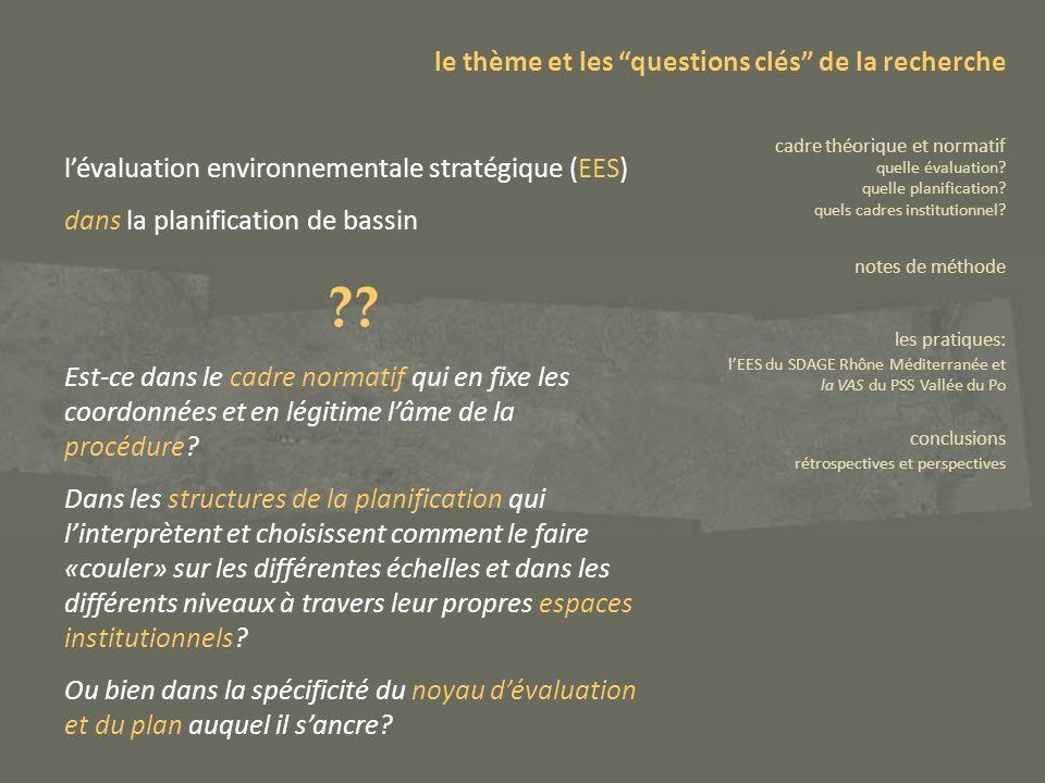 lintégration de lEES dans la planification de bassin dispositions législatives communautaires: Directive Plans et Programmes (2001/42/CE) Directive Cadre sur lEau (2000/60/CE) le thème et les questions clés de la recherche cadre théorique et normatif quelle évaluation.