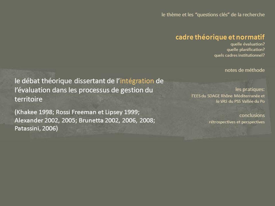 le débat théorique dissertant de lintégration de lévaluation dans les processus de gestion du territoire (Khakee 1998; Rossi Freeman et Lipsey 1999; A