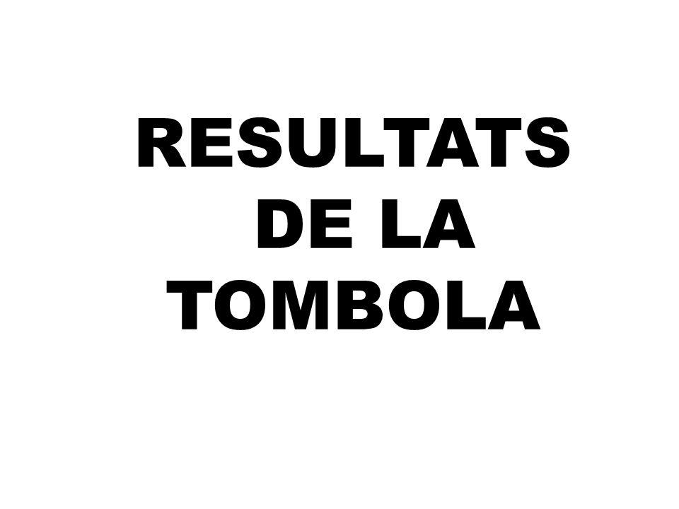 RESULTATS DE LA TOMBOLA