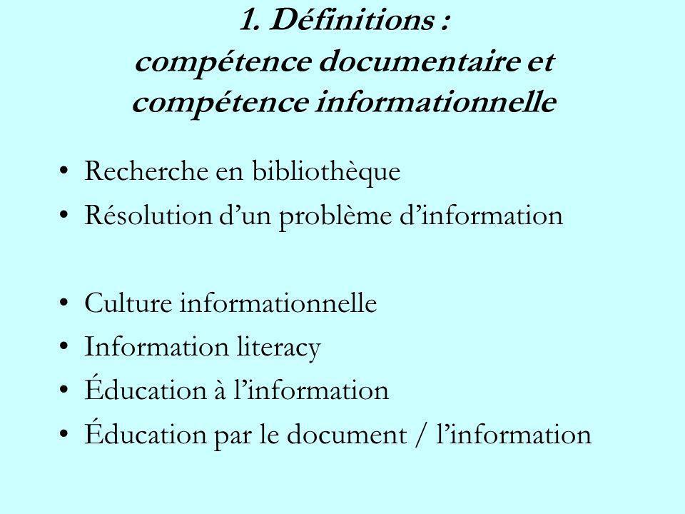 1. Définitions : compétence documentaire et compétence informationnelle Recherche en bibliothèque Résolution dun problème dinformation Culture informa