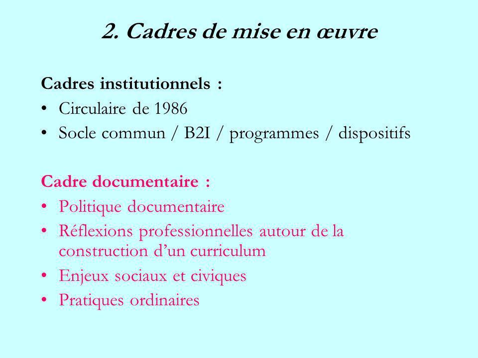 2. Cadres de mise en œuvre Cadres institutionnels : Circulaire de 1986 Socle commun / B2I / programmes / dispositifs Cadre documentaire : Politique do