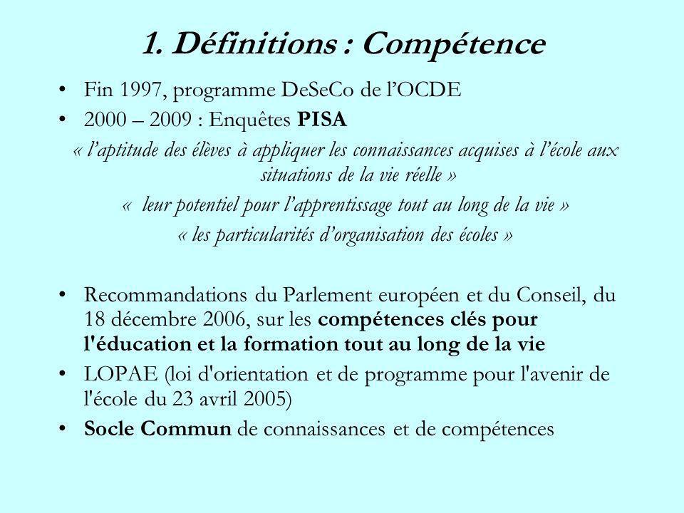 1. Définitions : Compétence Fin 1997, programme DeSeCo de lOCDE 2000 – 2009 : Enquêtes PISA « laptitude des élèves à appliquer les connaissances acqui