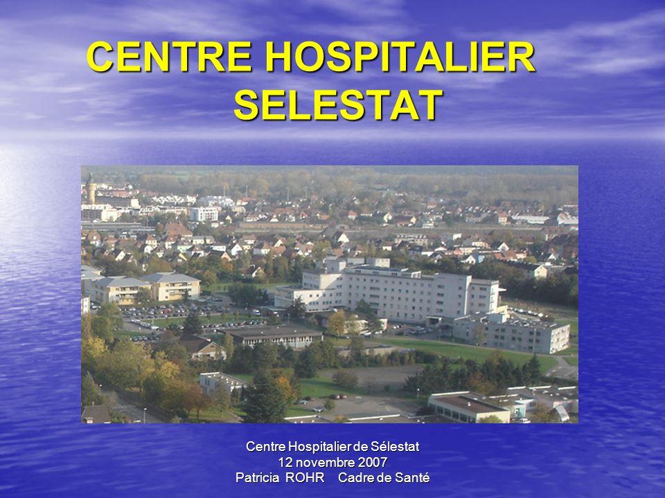 Centre Hospitalier de Sélestat 12 novembre 2007 Patricia ROHR Cadre de Santé CENTRE HOSPITALIER SELESTAT CENTRE HOSPITALIER SELESTAT