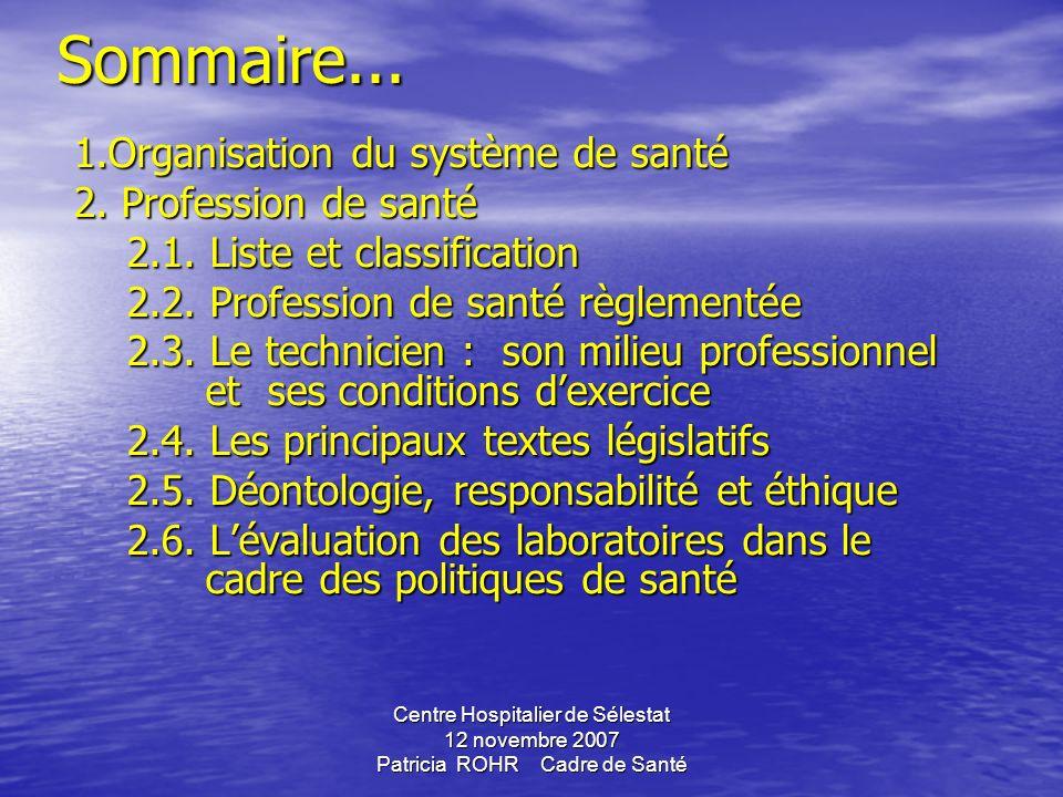 Centre Hospitalier de Sélestat 12 novembre 2007 Patricia ROHR Cadre de SantéSommaire...