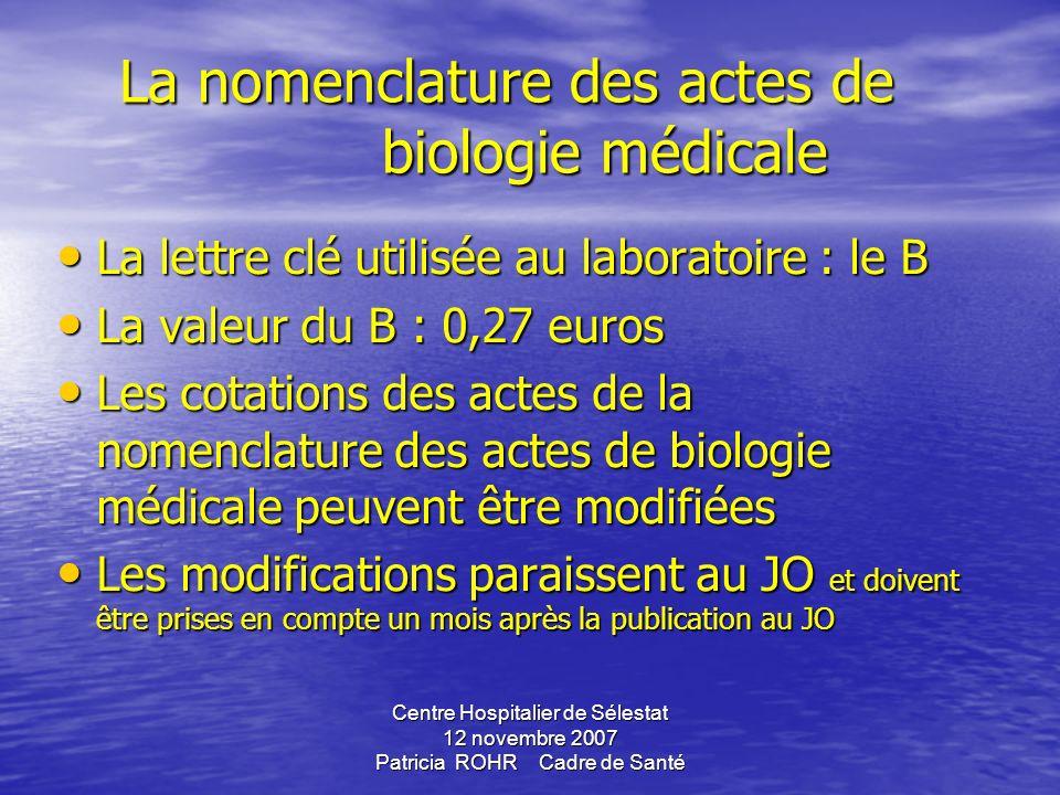 Centre Hospitalier de Sélestat 12 novembre 2007 Patricia ROHR Cadre de Santé GBEA ( Guide de Bonne Exécution des Analyses de biologie médicale) arrêté