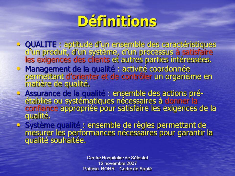 Centre Hospitalier de Sélestat 12 novembre 2007 Patricia ROHR Cadre de Santé LA CERTIFICATION 2 ème phase dans le processus La certification est une p