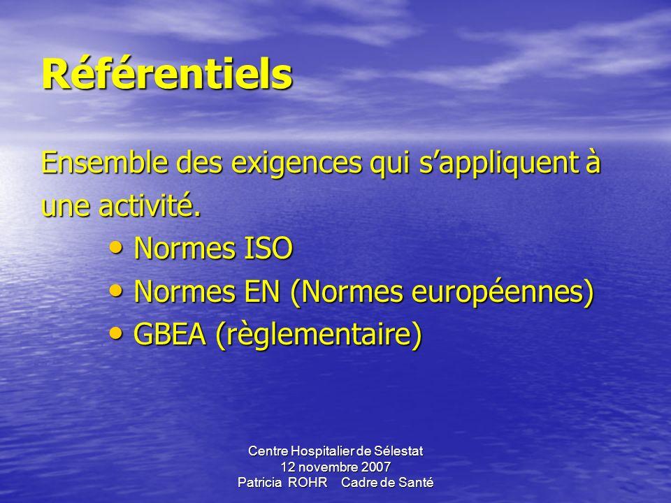 Centre Hospitalier de Sélestat 12 novembre 2007 Patricia ROHR Cadre de Santé Définitions Définitions QUALITE : aptitude dun ensemble des caractéristiq