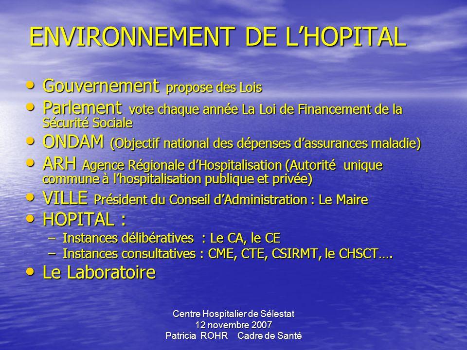 Centre Hospitalier de Sélestat 12 novembre 2007 Patricia ROHR Cadre de SantéSommaire... 1.Organisation du système de santé 2. Profession de santé 2.1.